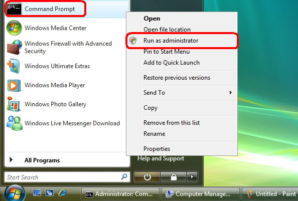 windows vista admin password reset