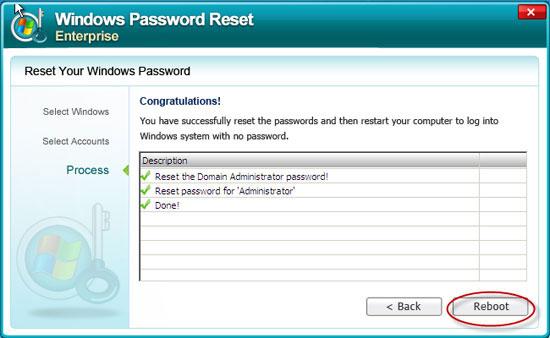 reset Windows Server 2008 admin password successful
