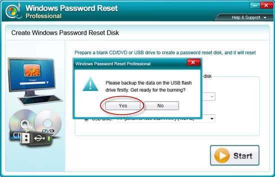 burn Windows 7 password reset disk