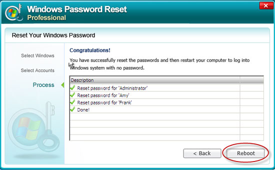reset Windows 7 password success