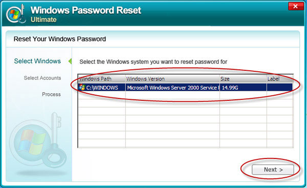Windows Server 2000 admin password recovery
