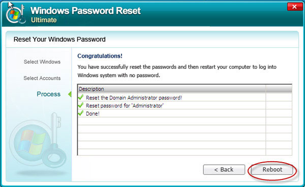 reset Windows Server 2003 admin password successful