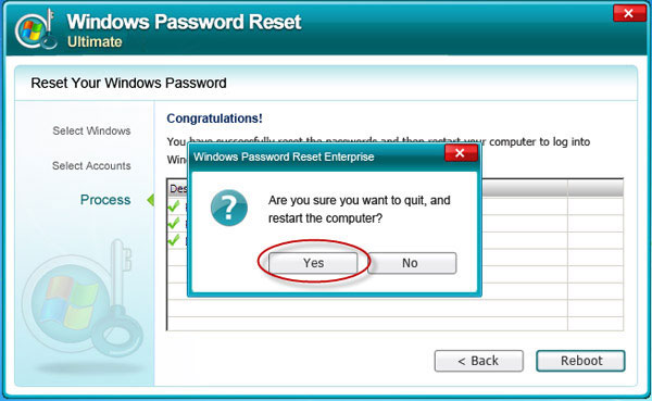Reset Windows Server 2000 admin password successful