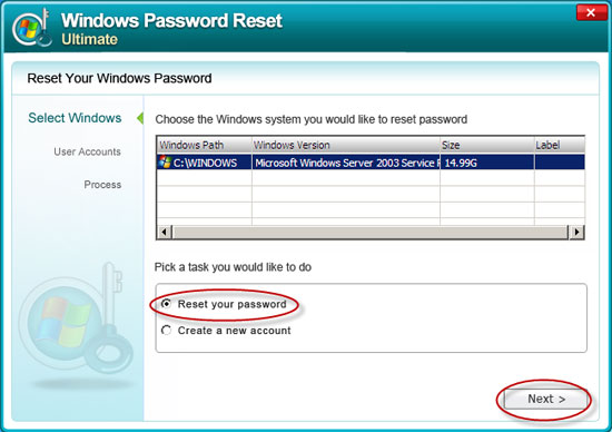 windows password reset ultimate.
