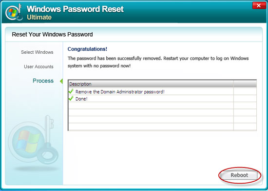 reset Windows Server 2008 admin password successful
