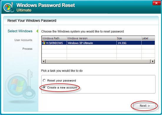 Windows password reset standard crack